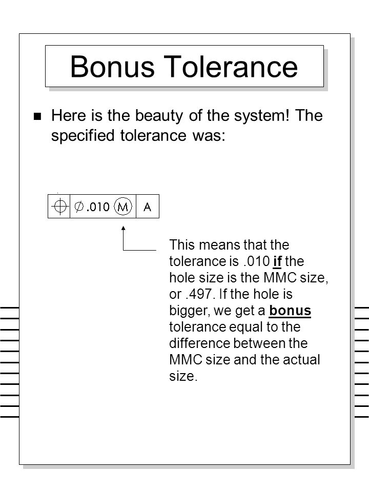 Bonus Tolerance Here is the beauty of the system! The specified tolerance was:
