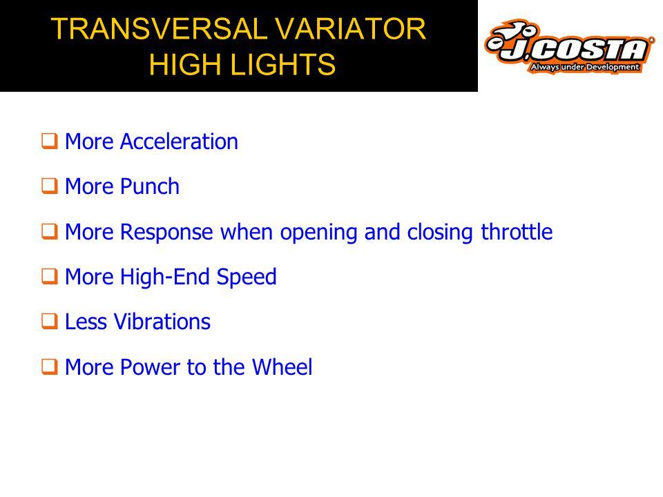 TRANSVERSAL VARIATOR HIGH LIGHTS