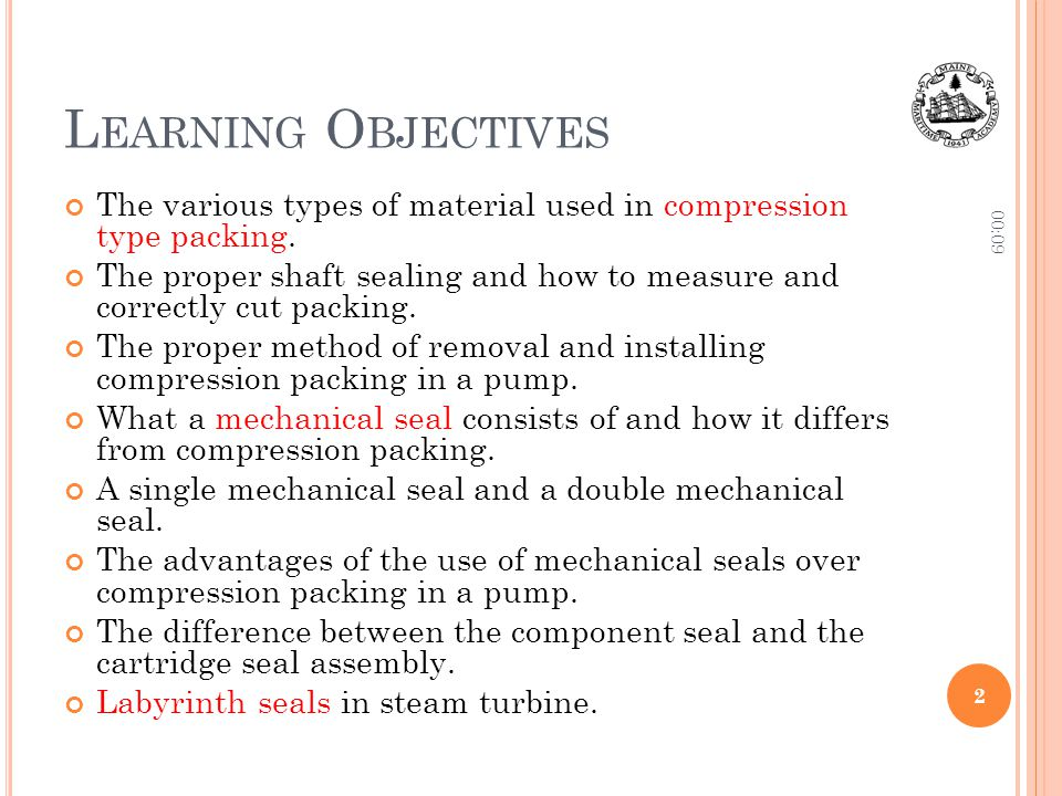 Learning Objectives 10:06. The various types of material used in compression type packing.