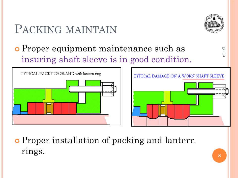 Packing maintain 10:06. Proper equipment maintenance such as insuring shaft sleeve is in good condition.