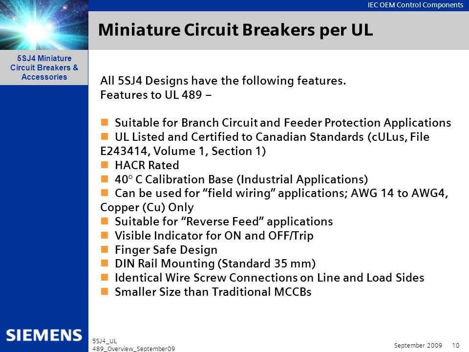 Miniature Circuit Breakers per UL