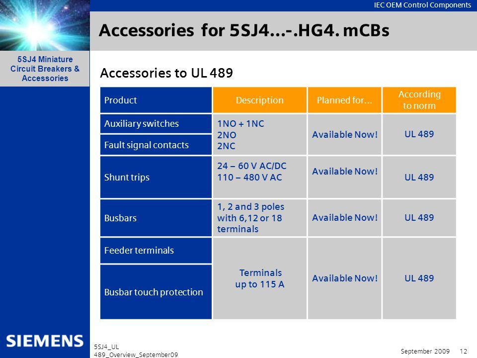 Accessories for 5SJ4…-.HG4. mCBs