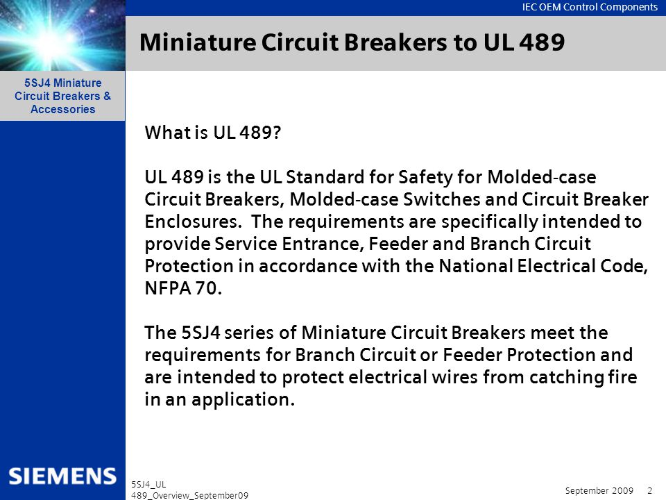 Miniature Circuit Breakers to UL 489