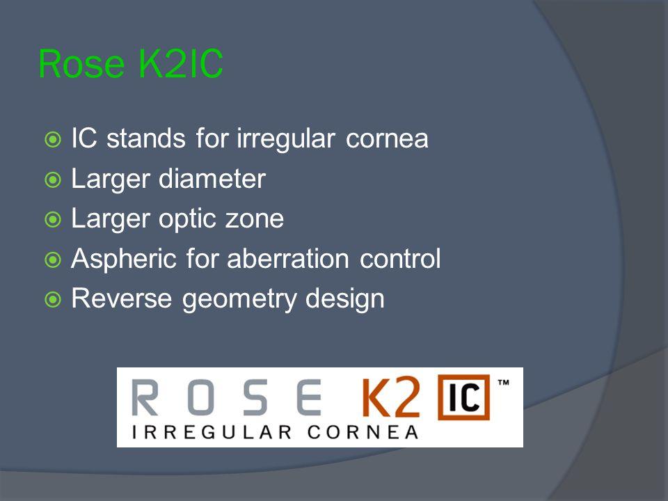Rose K2IC IC stands for irregular cornea Larger diameter