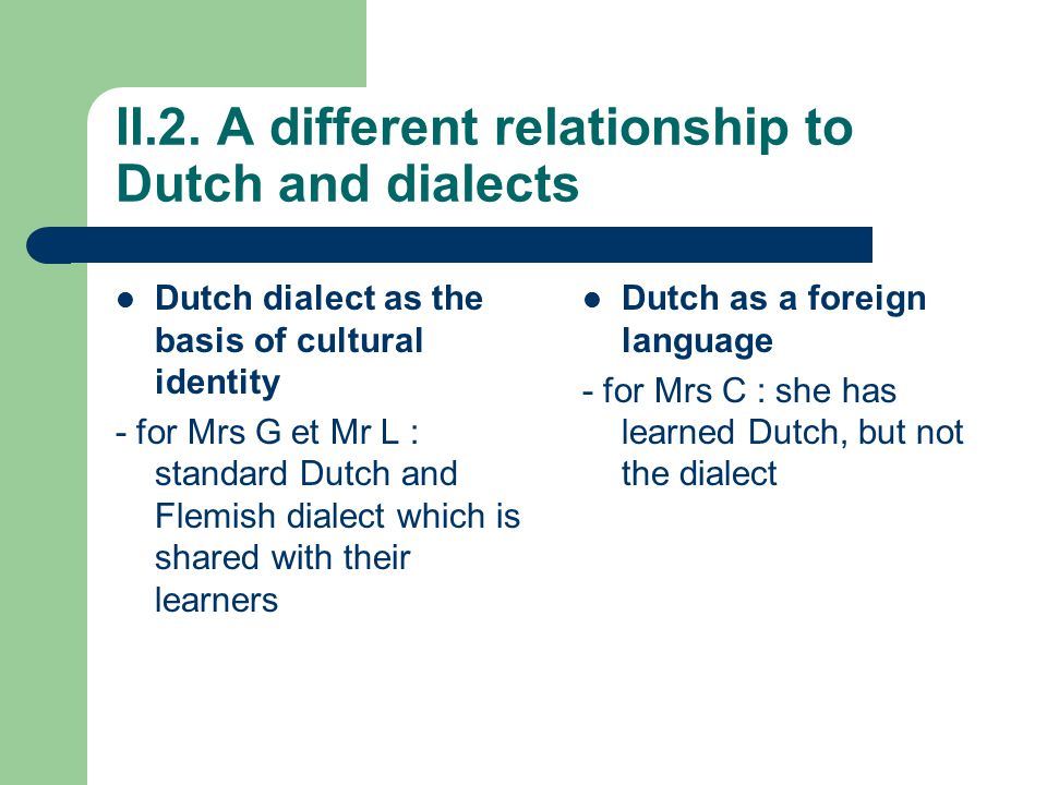 II.2. A different relationship to Dutch and dialects