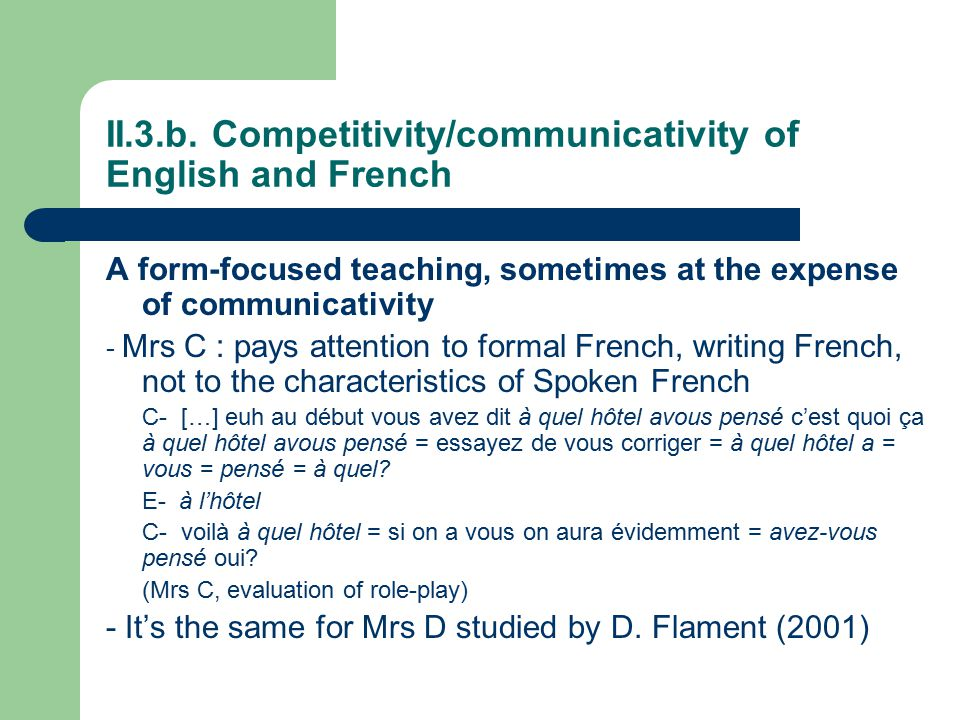 II.3.b. Competitivity/communicativity of English and French