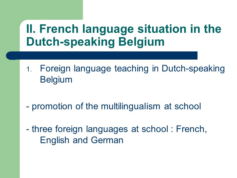 II. French language situation in the Dutch-speaking Belgium