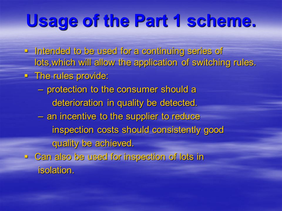 Usage of the Part 1 scheme.