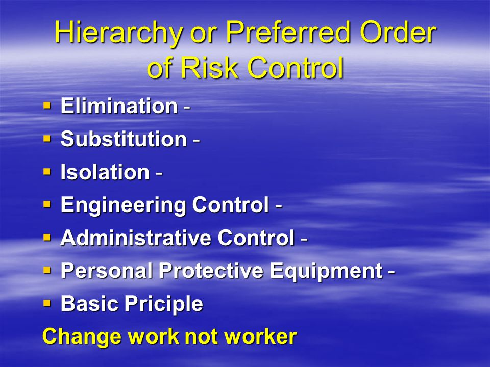 Hierarchy or Preferred Order of Risk Control