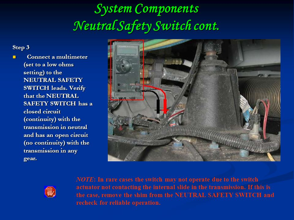 System Components Neutral Safety Switch cont.