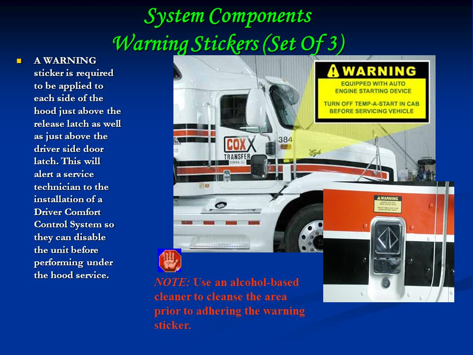 System Components Warning Stickers (Set Of 3)