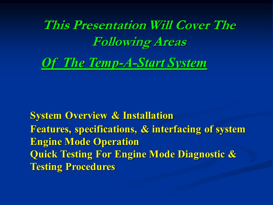 This Presentation Will Cover The Following Areas