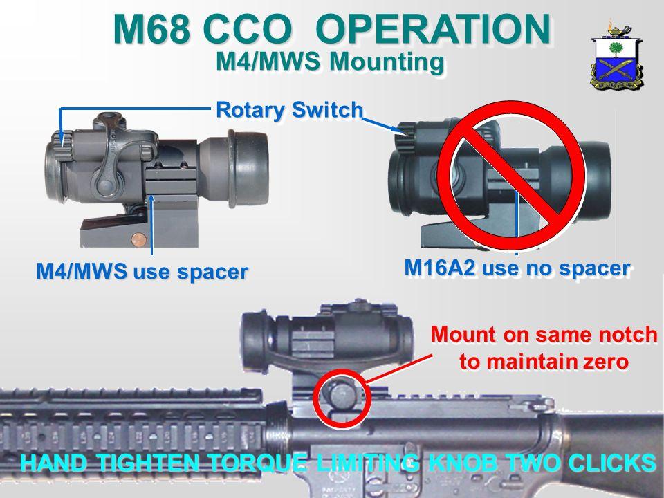 M68 CCO OPERATION M4/MWS Mounting