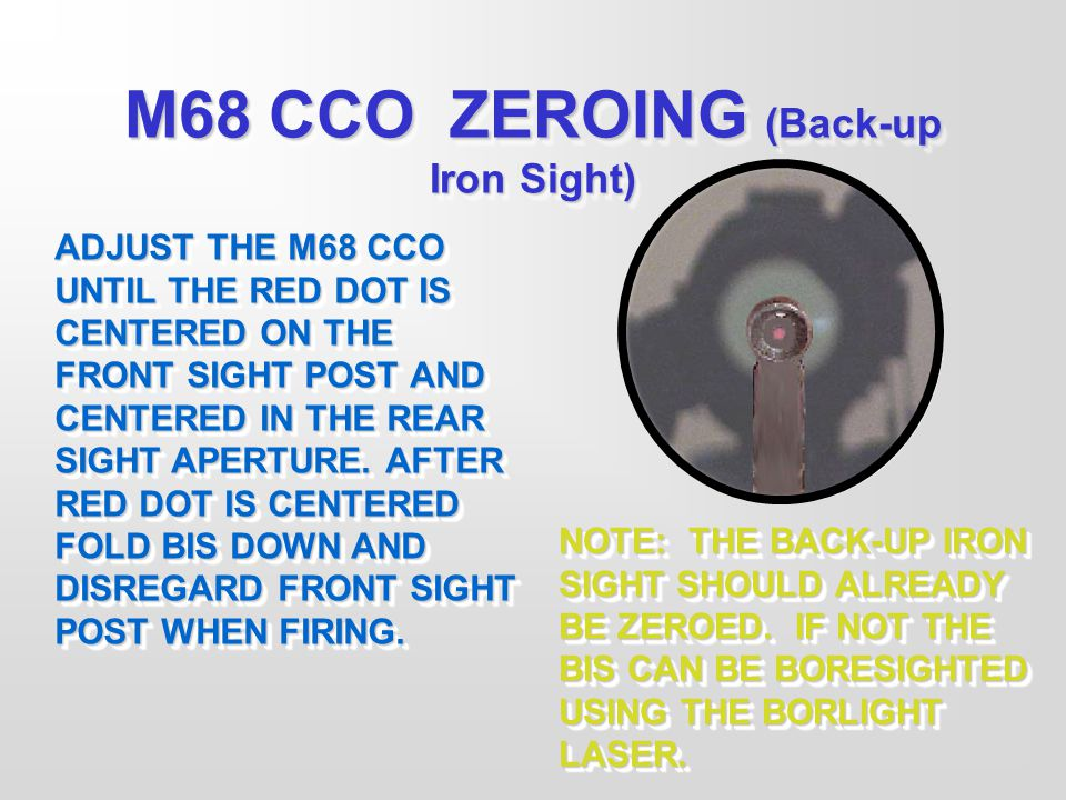 M68 CCO ZEROING (Back-up Iron Sight)