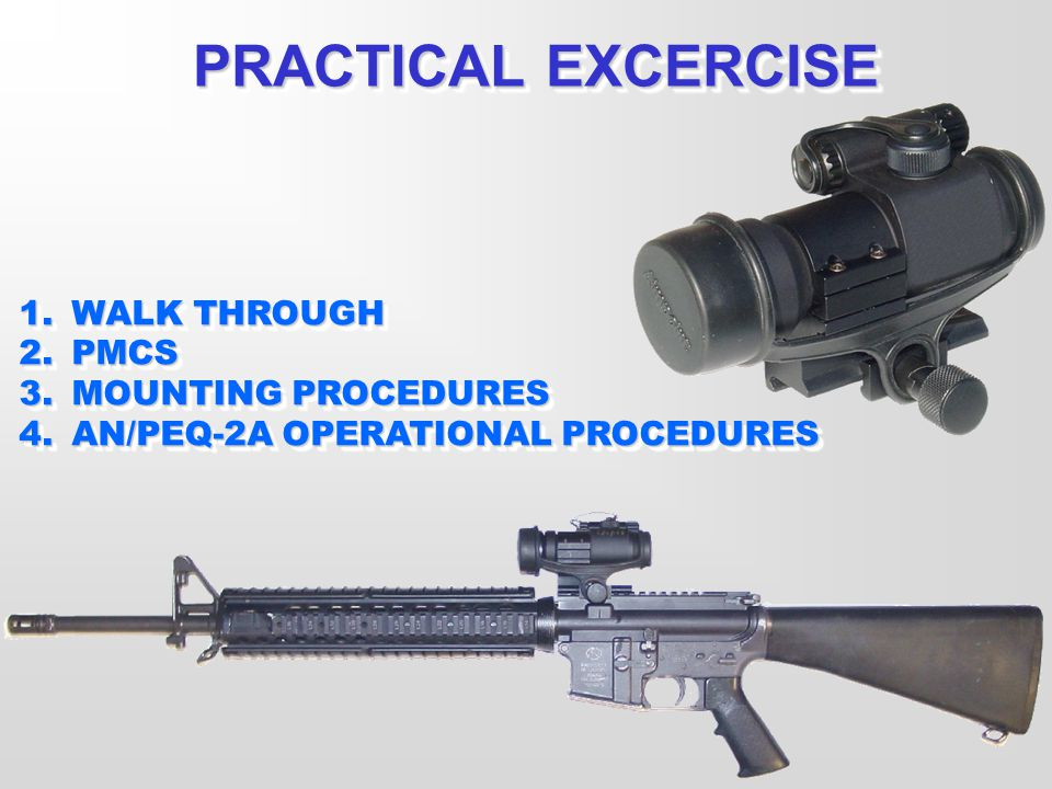 PRACTICAL EXCERCISE WALK THROUGH PMCS MOUNTING PROCEDURES