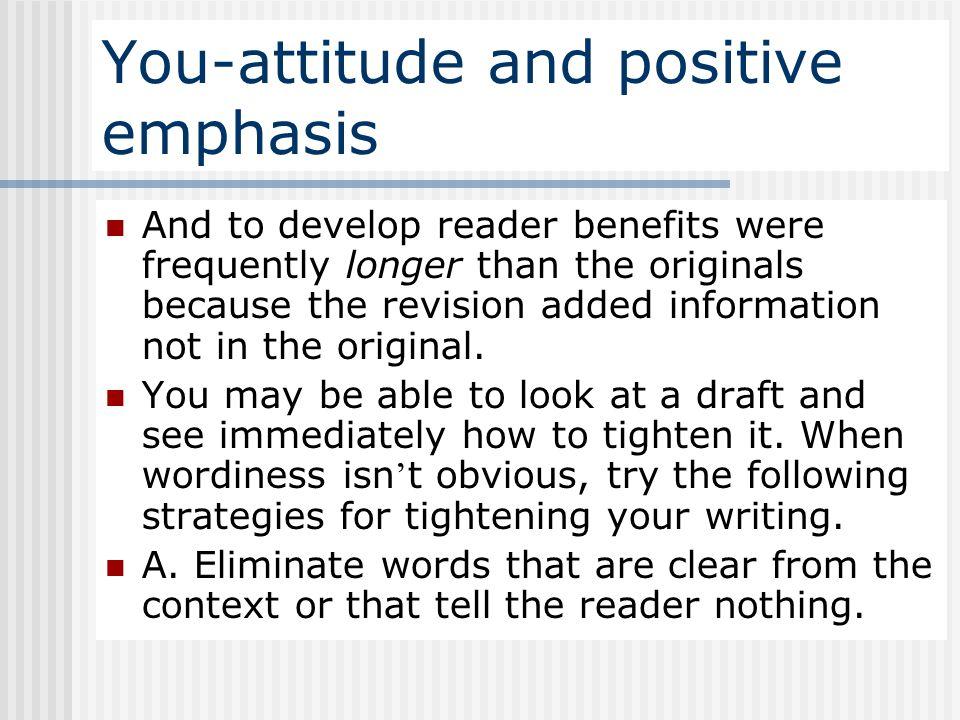 You-attitude and positive emphasis