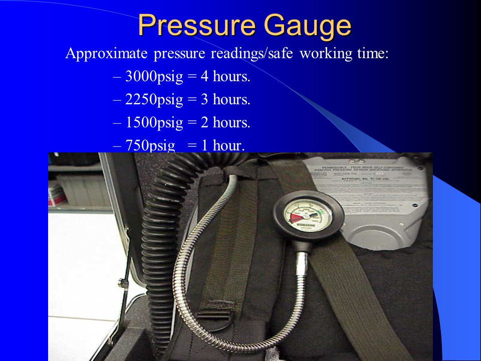 Pressure Gauge Approximate pressure readings/safe working time: