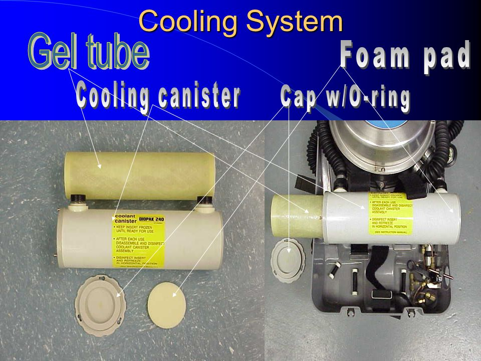 Cooling System Gel tube Foam pad Cooling canister Cap w/O-ring