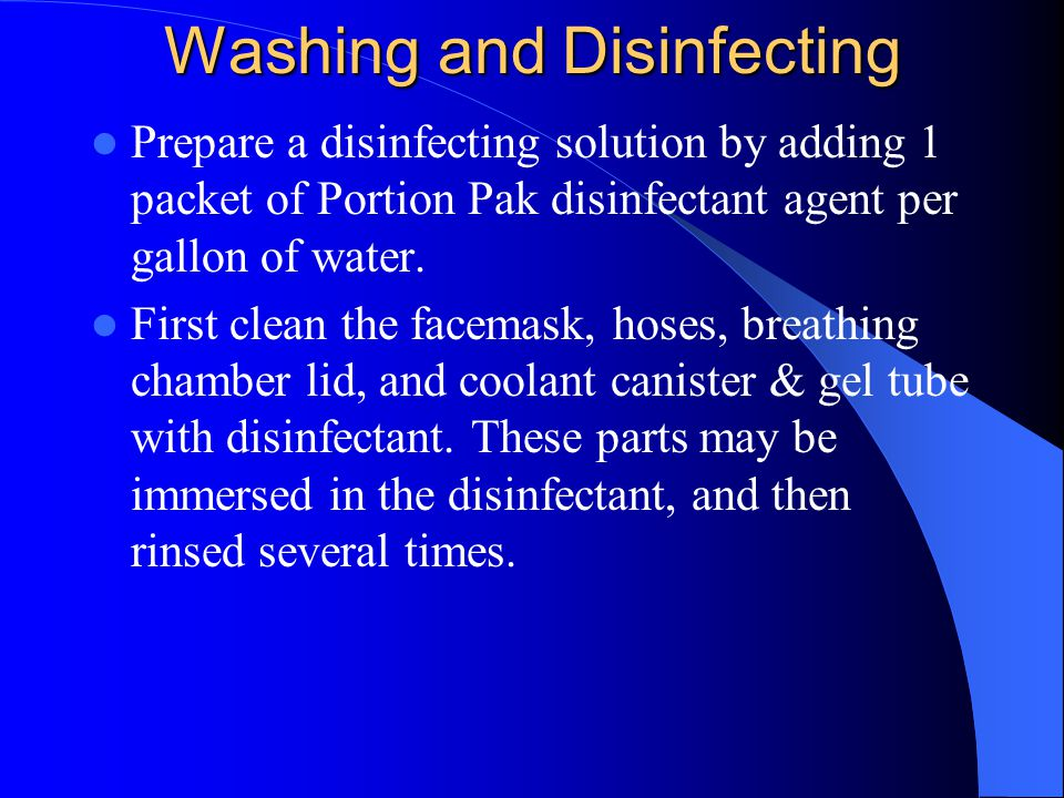 Washing and Disinfecting