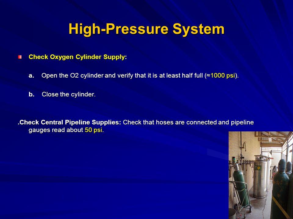 High-Pressure System Check Oxygen Cylinder Supply: