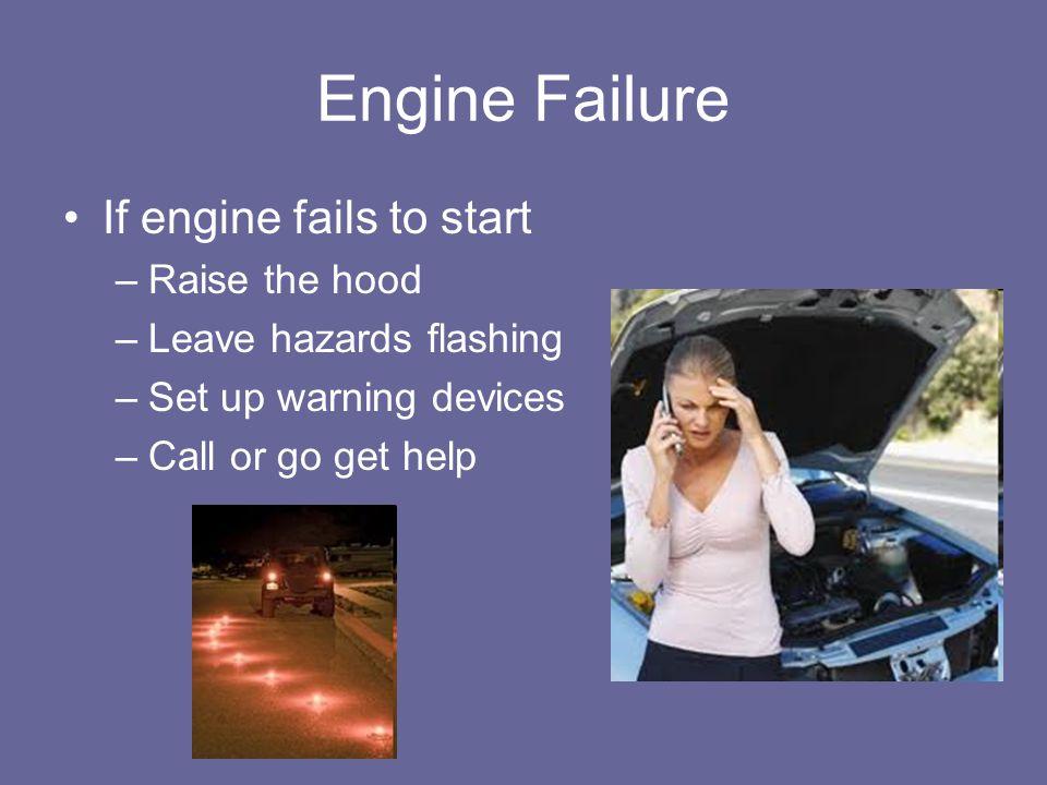 Engine Failure If engine fails to start Raise the hood
