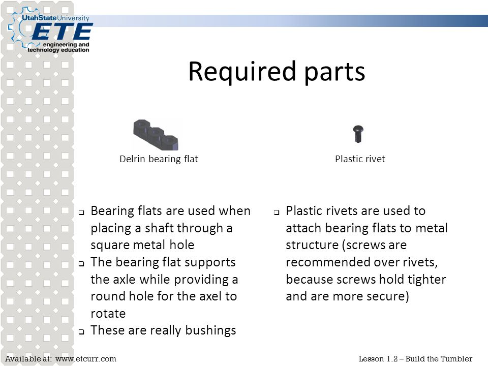 Required parts Delrin bearing flat. Plastic rivet. Bearing flats are used when placing a shaft through a square metal hole.
