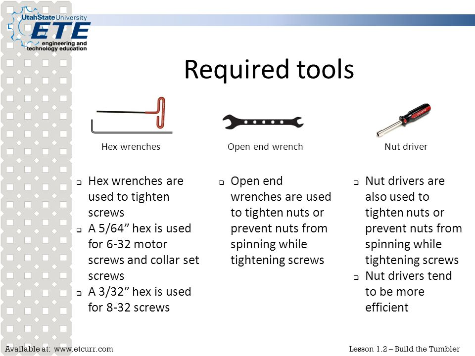 Required tools Hex wrenches are used to tighten screws