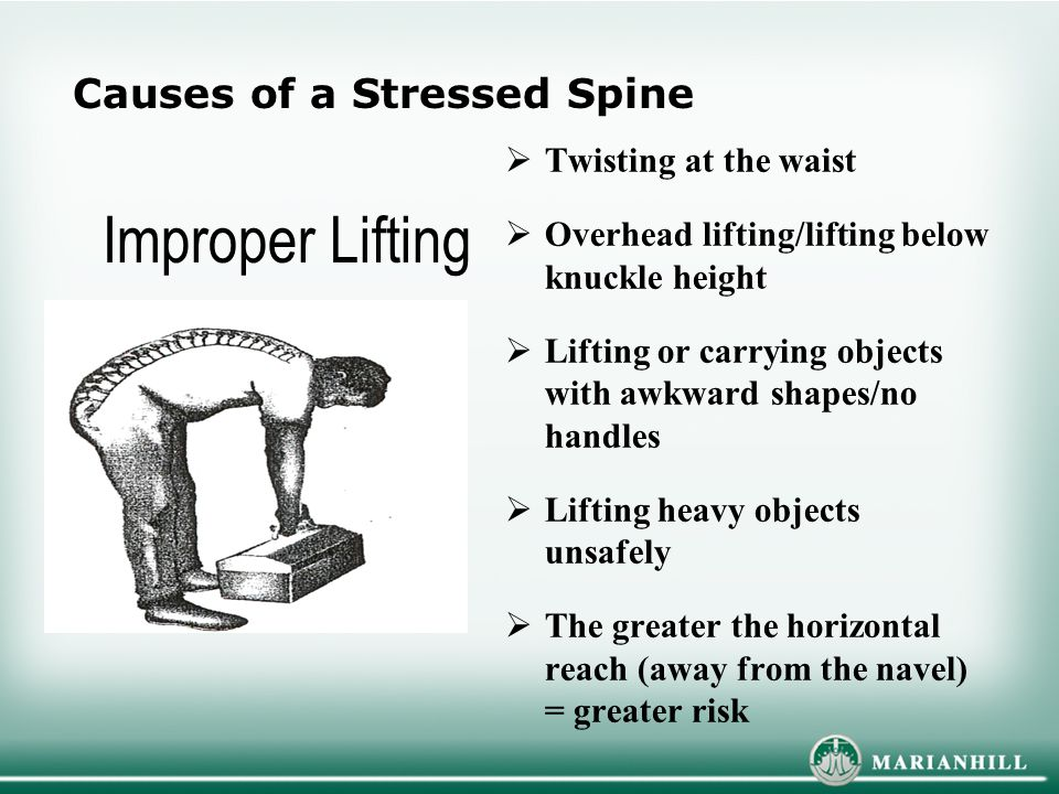 Improper Lifting Causes of a Stressed Spine Twisting at the waist