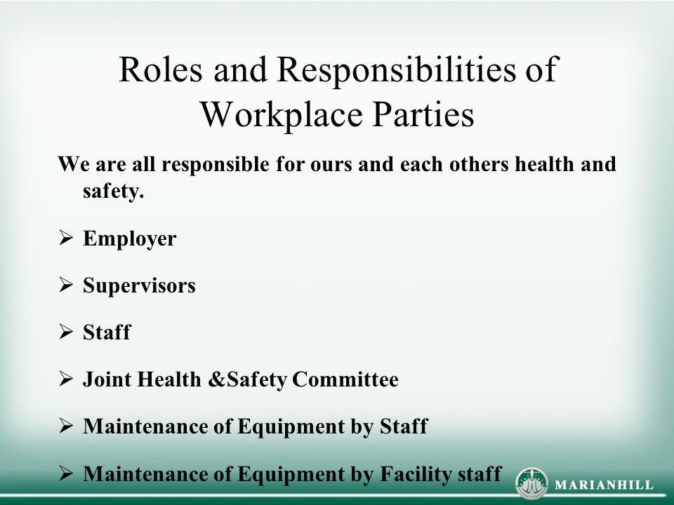 Roles and Responsibilities of Workplace Parties