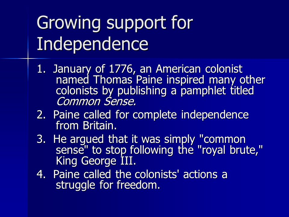 Growing support for Independence