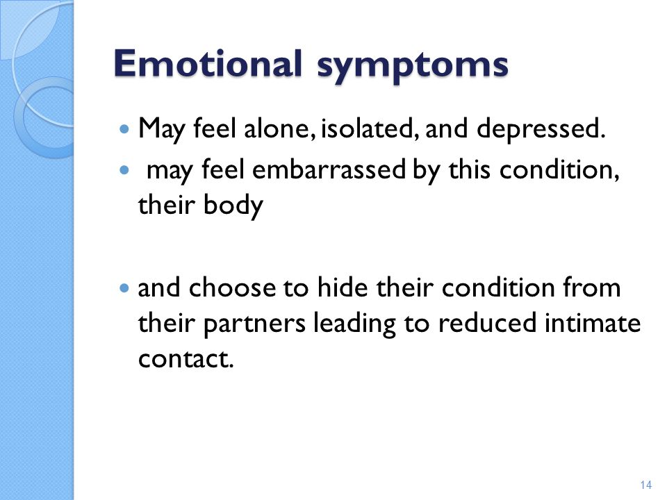 Emotional symptoms May feel alone, isolated, and depressed.