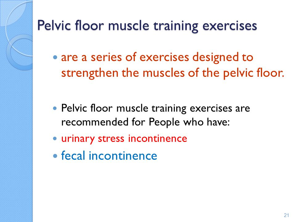 Pelvic floor muscle training exercises