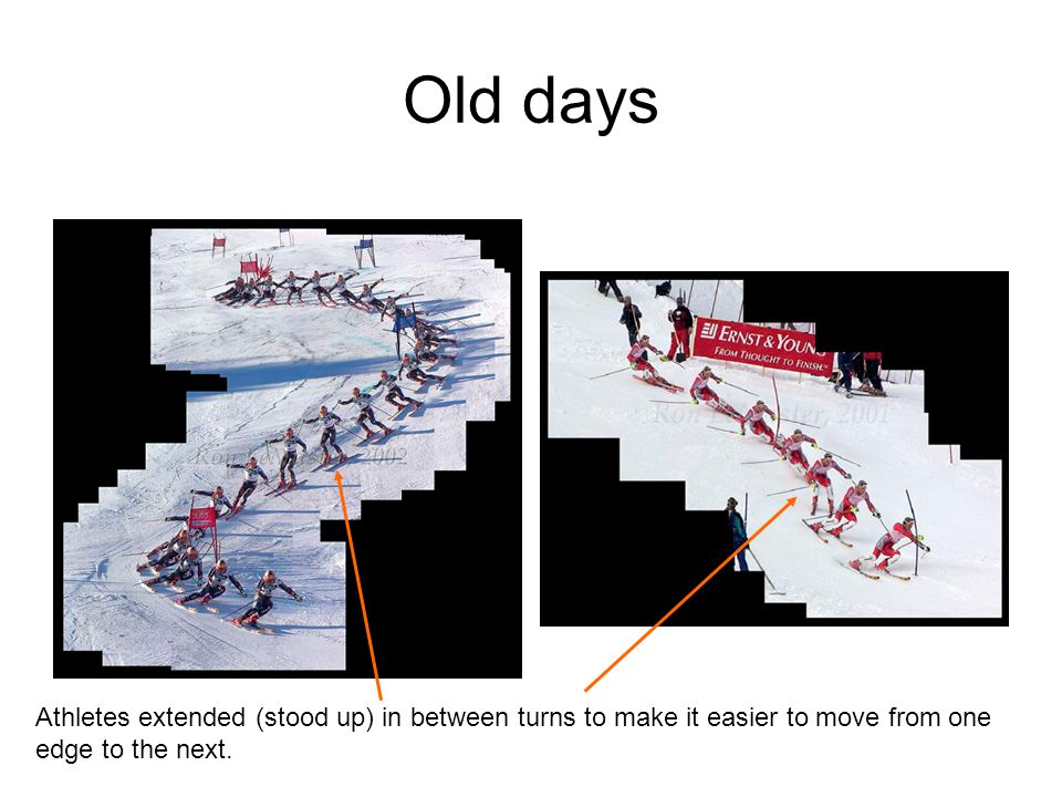 Old days Athletes extended (stood up) in between turns to make it easier to move from one edge to the next.