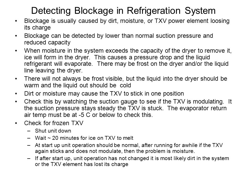 Detecting Blockage in Refrigeration System