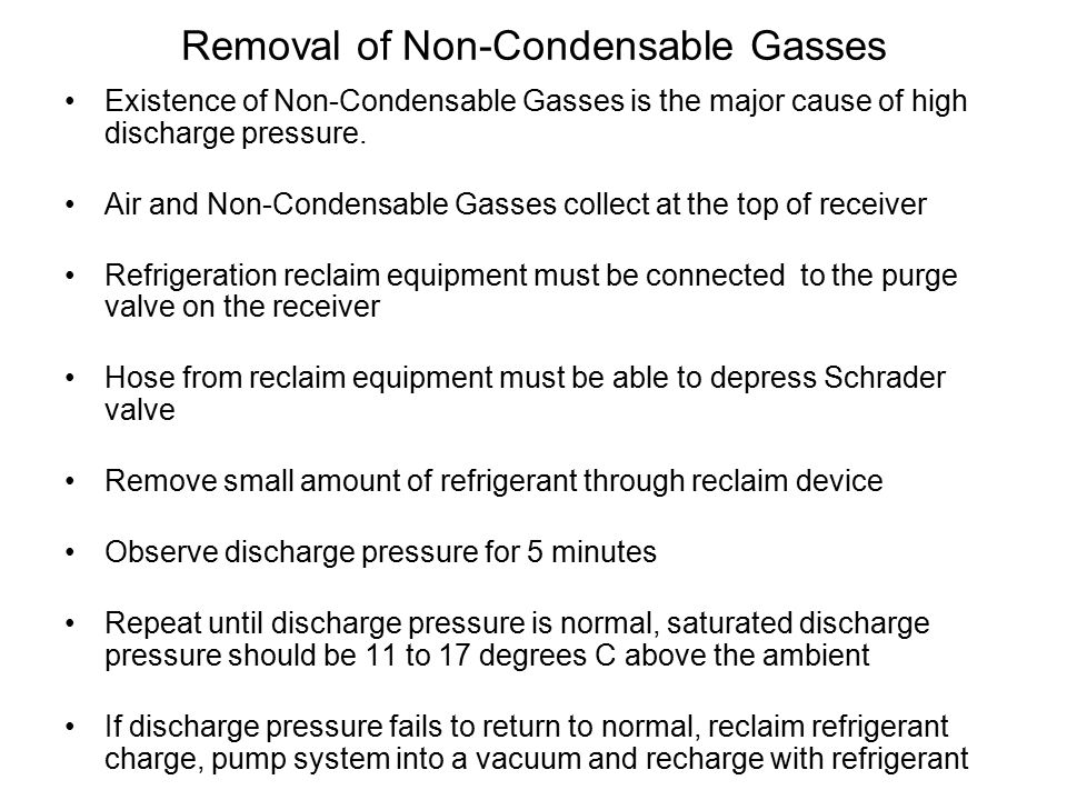 Removal of Non-Condensable Gasses