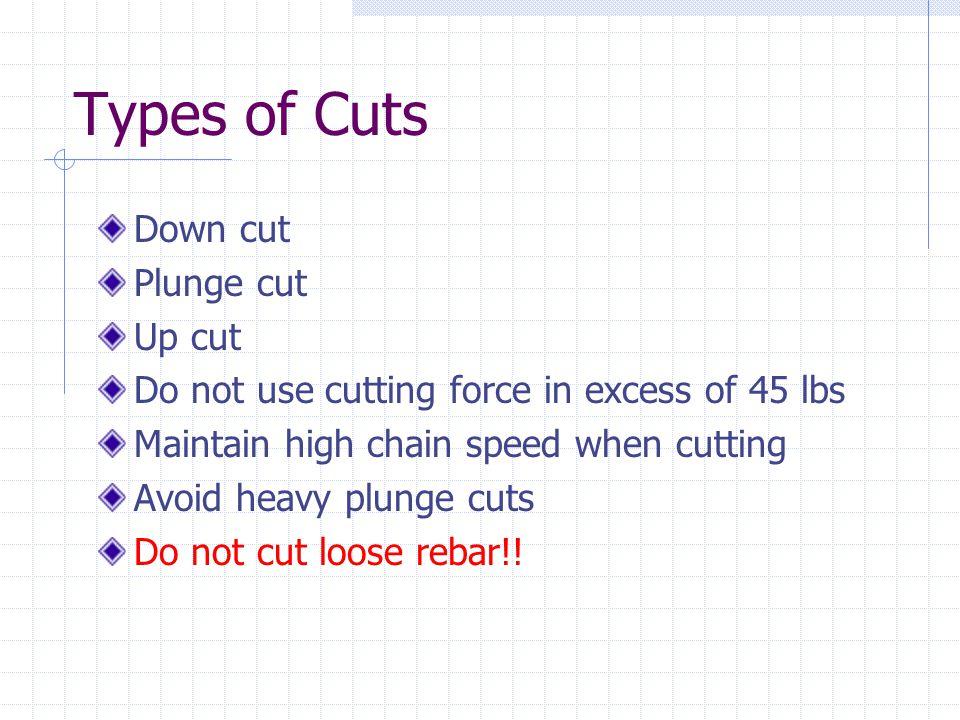 Types of Cuts Down cut Plunge cut Up cut