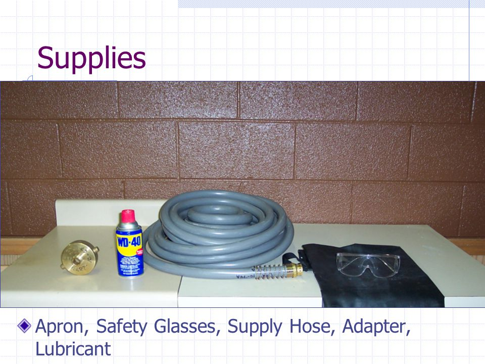 Supplies Apron, Safety Glasses, Supply Hose, Adapter, Lubricant