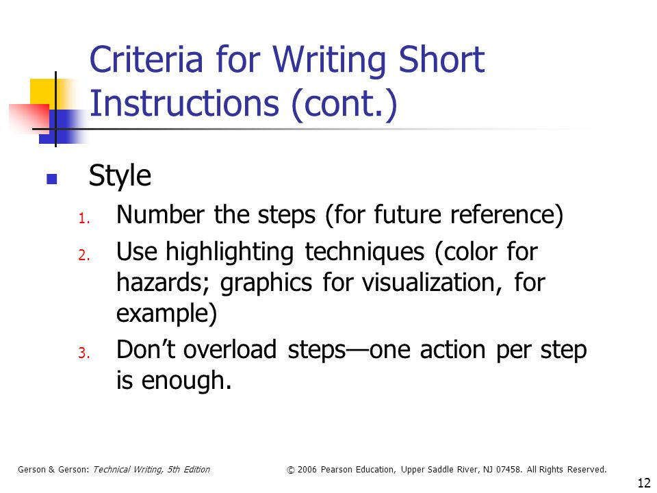 Criteria for Writing Short Instructions (cont.)