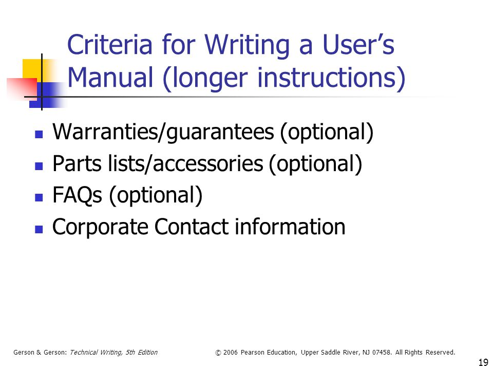 Criteria for Writing a User's Manual (longer instructions)