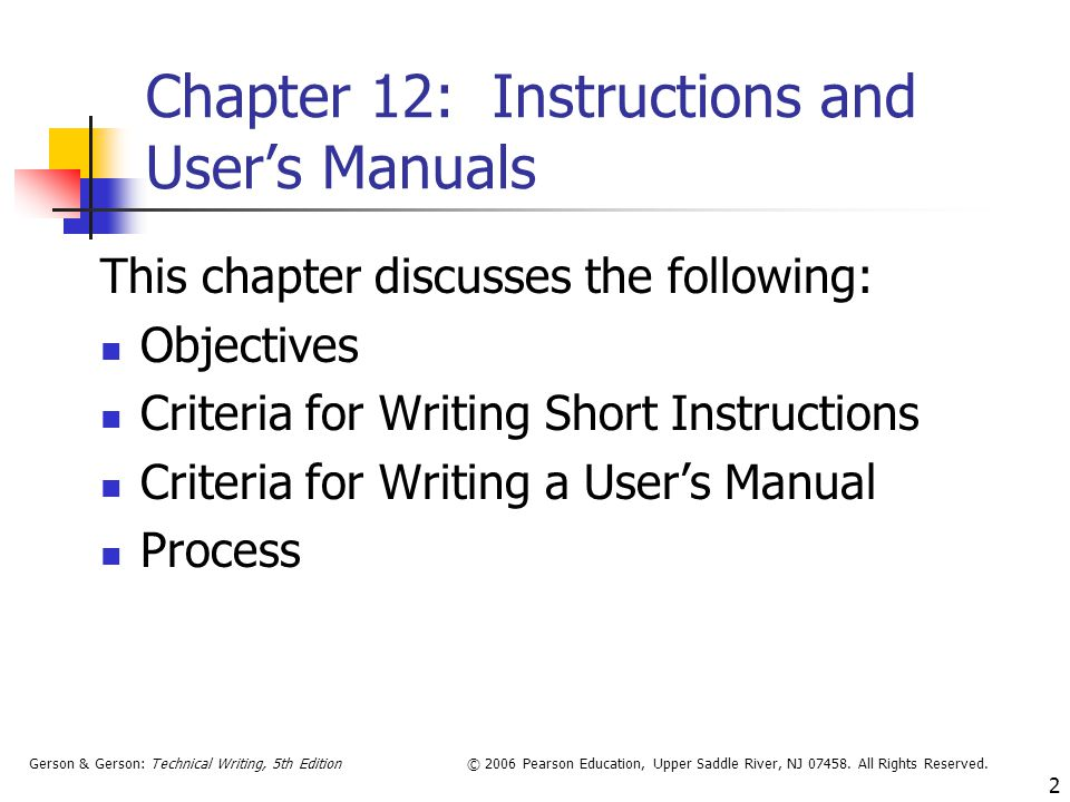 Chapter 12: Instructions and User's Manuals