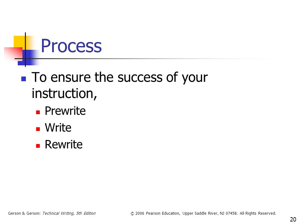 Process To ensure the success of your instruction, Prewrite Write