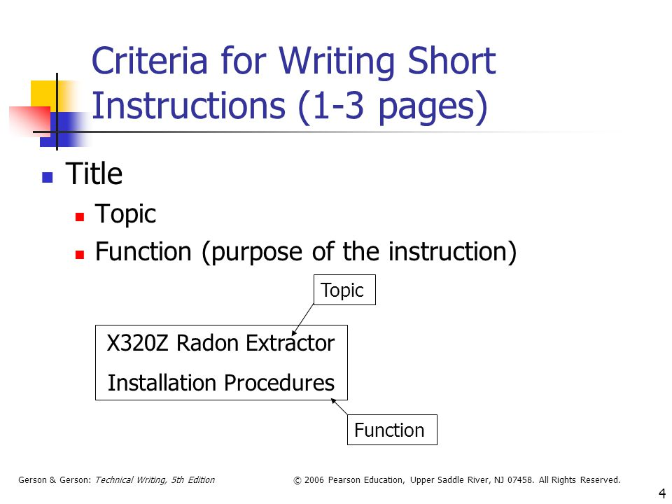 Criteria for Writing Short Instructions (1-3 pages)