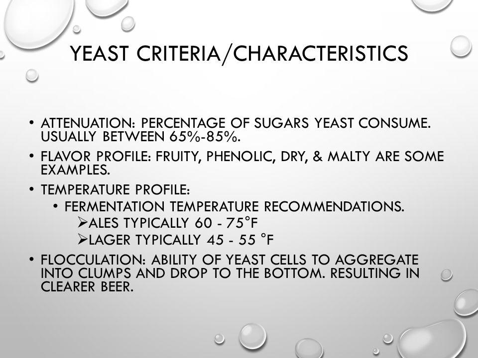 Yeast Criteria/Characteristics