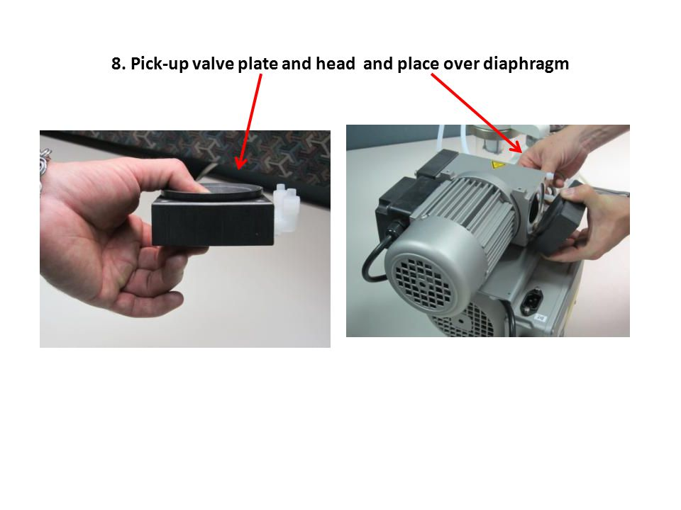 8. Pick-up valve plate and head and place over diaphragm