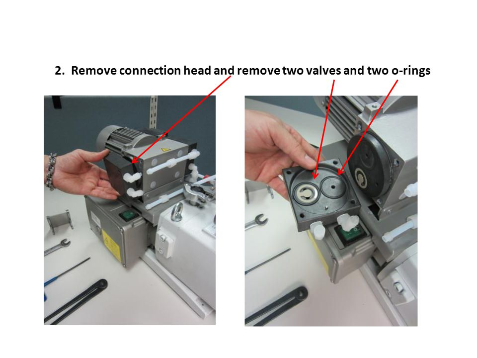 2. Remove connection head and remove two valves and two o-rings