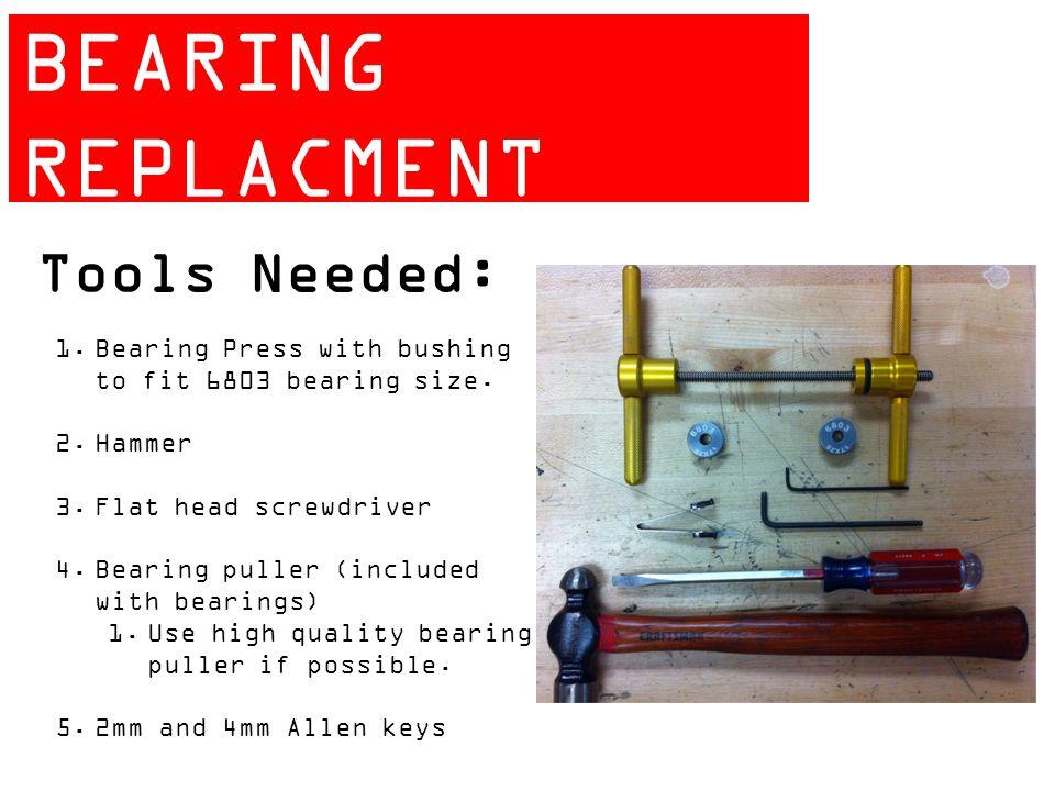 ZIPP 404 BEARING REPLACMENT GUIDE Tools Needed: