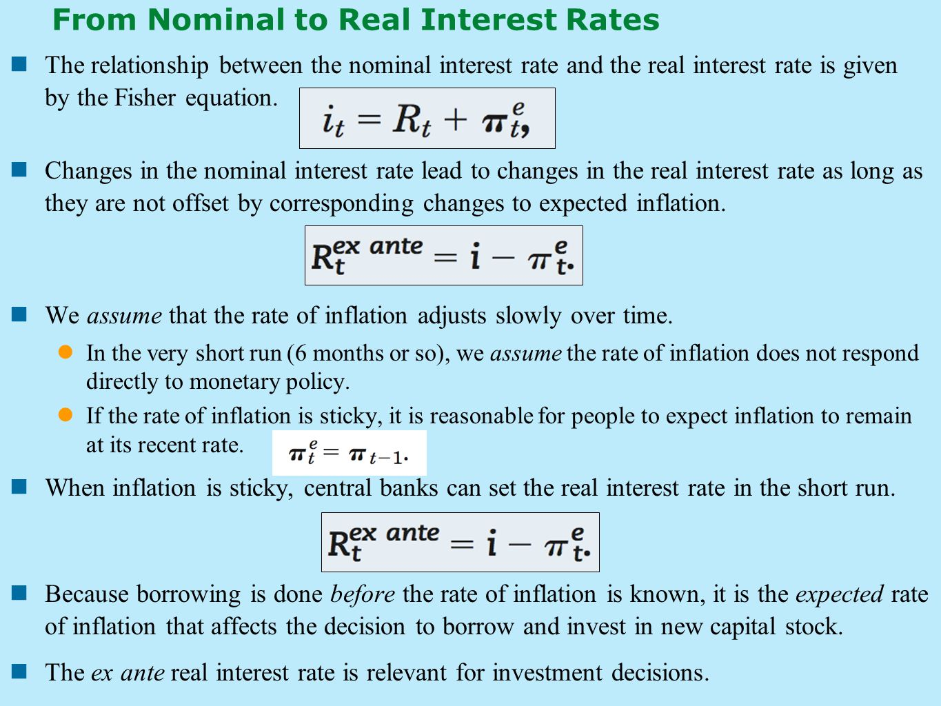 From Nominal to Real Interest Rates