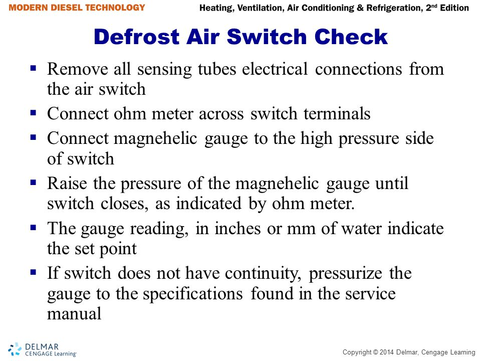 Defrost Air Switch Check