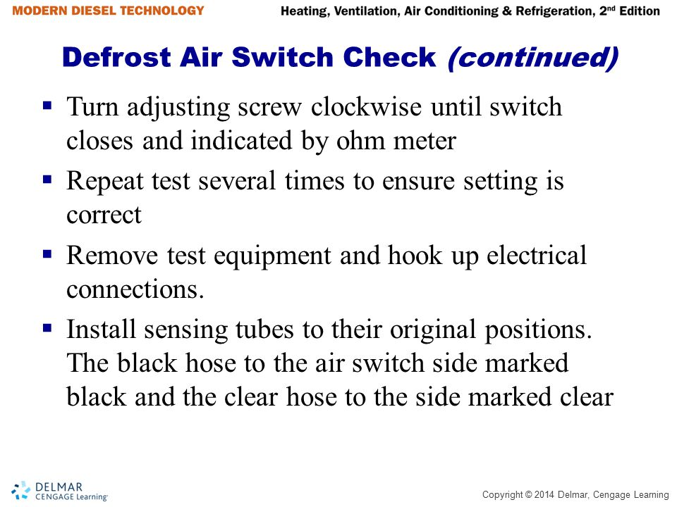 Defrost Air Switch Check (continued)