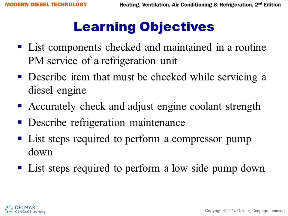 Learning Objectives List components checked and maintained in a routine PM service of a refrigeration unit.